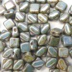 SL-03000-65431 Silky Bead, Opaque White Green/Blue Lazura 30 Pc.-0