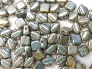 SL-03000-65431 Silky Bead, Opaque White Green/Blue Lazura 30 Pc.-0