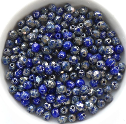 0090100 Opaque Dark Sapphire Silver Travertin, facet 4 mm.50 Pc.-0