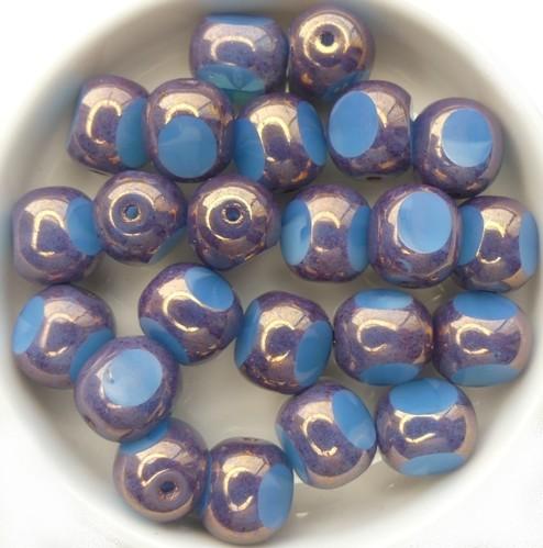 0090262 Light Blue Opal Bronze, 3 Cut facet 10 mm. 5 Pc.-0