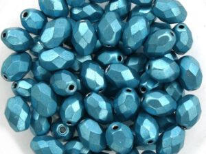0090364 Metallic Suede Blue Turquoise Oval Facet 8 x 6 mm. 15 Pc.-0