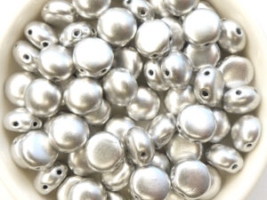 CB-00030-01700 Matte Metallic Silver 2-hole Candy Bead 20 Pc.-0