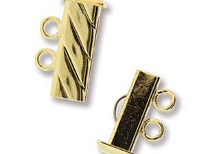 GP2Clasp Fluted Rectangle 2 strand Slide Lock Clasp, Gold Plated-0