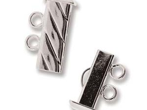 SP2Clasp Fluted Rectangle 2 strand Slide Lock Clasp, Silver Plated-0