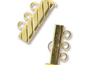 GP3Clasp Fluted Rectangle 3 strand Slide Lock Clasp, Gold Plated-0