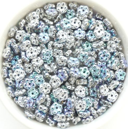 FN-00030-98553 Crystal Glittery Silver Forget-Me-Not Beads 50 Pc.-0