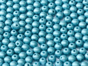 08-R-02010-29436 Alabaster Metallic Mat Arctic Blue Round 8 mm. 25 Pc.-0