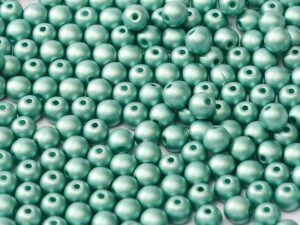 04-R-02010-29455 Alabaster Metallic Mat Teal Round 4 mm. 100 Pc.-0