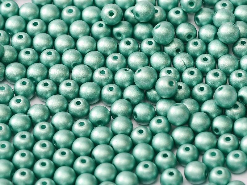 06-R-02010-29455 Alabaster Metallic Mat Teal Round 6 mm. 50 Pc.-0