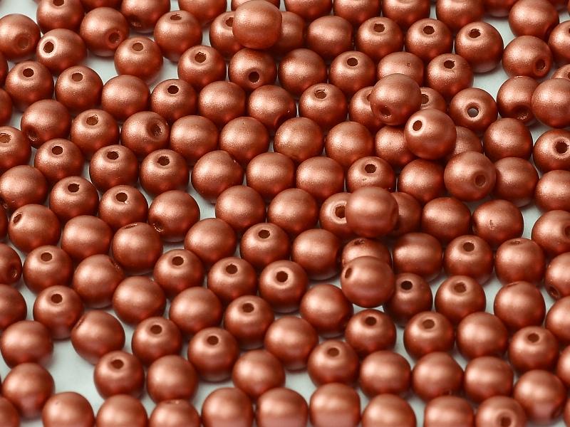 06-R-02010-29408 Alabaster Metallic Mat Brick Red Round 6 mm. 50 Pc.-0