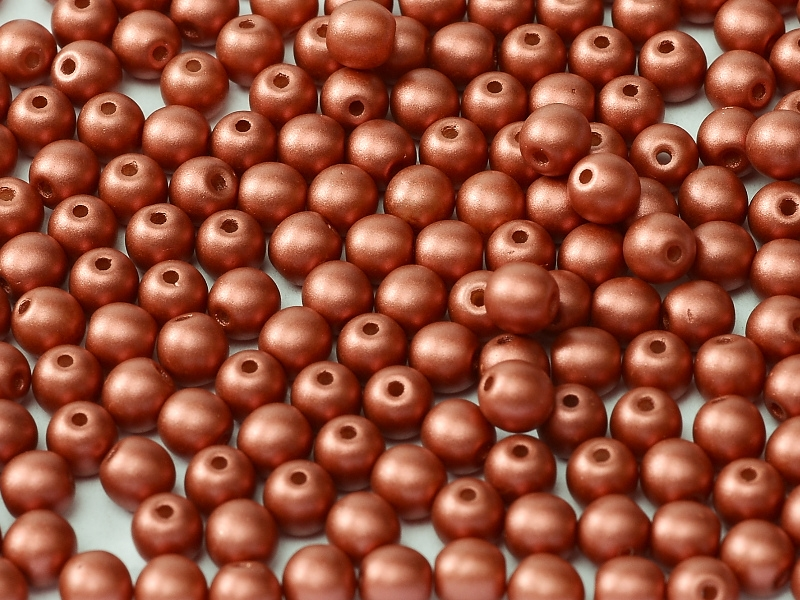 08-R-02010-29408 Alabaster Metallic Mat Brick Red Round 8 mm. 25 Pc.-0