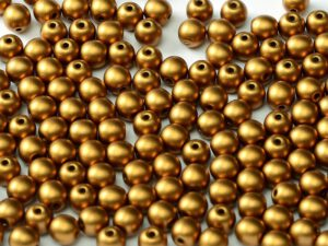 06-R-02010-29415 Alabaster Metallic Mat Brass Round 6 mm. 50 Pc.-0