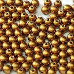 08-R-02010-29415 Alabaster Metallic Mat Brass Red Round 8 mm. 25 Pc.-0