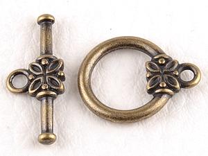 0160210 Toggle Clasp Flower, Antique Bronze Color.-0