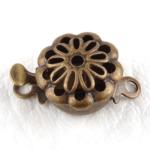 0160135 Box Clasp, Flower,  Antique Bronze Color-0