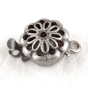 0160136 Box Clasp, Flower, Old Silver Color-0