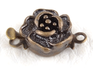 0160138 Box Clasp, Rose Flower, Antique Bronze Color-0