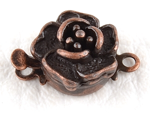0160139 Box Clasp, Rose Flower, Antique Copper Color-0