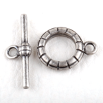 0160205 Toggle Clasp stripes, Old Silver Color.-0