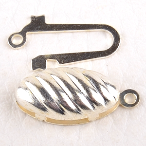 0160211 Oval Fish-Hook Clasp, Silver Color.-0