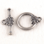 0160208 Toggle Clasp Flower, Old Silver Color.-0