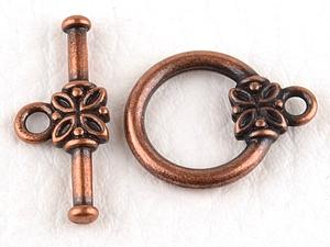 0160209 Toggle Clasp Flower, Antique Copper Color.-0