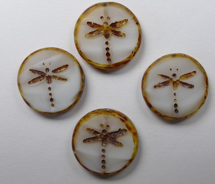 0020023 White/Grey Melee Dark Travertin Dragonfly, Table Cut 4 Pc.-0