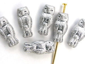 OWL-00030-27000 Owl Bead Full Silver 12 Pc.-0