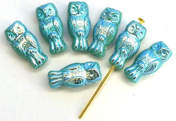 OWL-63140-28703 Owl Bead Opaque Green Turquoise Full AB 12 Pc.-0