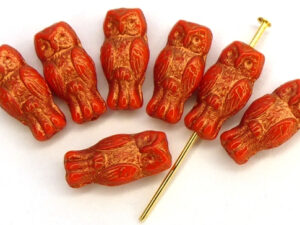 OWL-93420-54319 Owl Bead Opaque Red Bronze Patina 12 Pc.-0