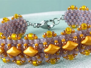 Madras Bracelet, Free Pattern with Matubo GemDuo Beads.-0