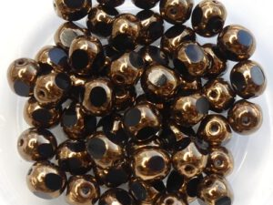0010478 Jet Bronze, Three Cut Window Bead 15 Pc.-0