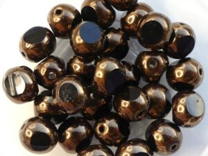 0010479 Jet Bronze, Three Cut Window Bead 10 Pc.-0