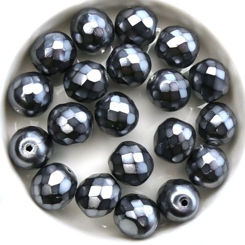 0020301 Jet Snake Silver facet 10 mm. 10 stuks-0