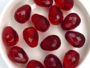 0050236 Dark Siam Red, Pear shaped Drop bead 13 x 10 mm. 6 Pc.-0