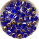 0090112 Dark Sapphire Golden Bronze Lantern Facet Beads 10 Pc.-0