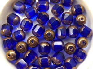 0090112 Dark Sapphire Golden Bronze Lantern Facet Beads 10 Pc.-0