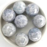 0090128 Opaque White Blue Luster, Facet 16 mm. 4 Pc.-0