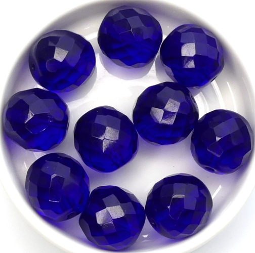 0090366 Cobalt Blue, Facet 14 mm. 6 Pc.-0