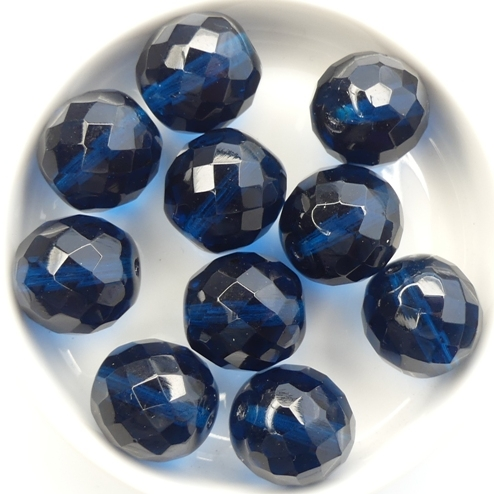 0090368 Dark Capri Blue, Facet 14 mm. 6 Pc.-0