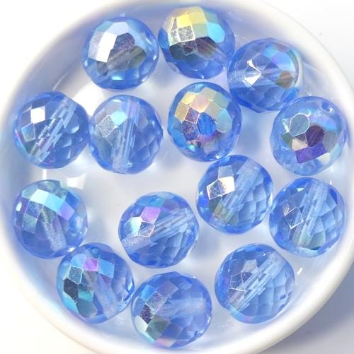 0090370 Light Sapphire AB, Facet 12 mm. 6 Pc.-0