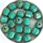 0100345 Opaque Green Turquoise Travertin Lantern Facet Beads 10 mm. 8 Pc.-0