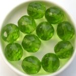0100449 Bright Green Facet 14 mm. 6 Pc.-0