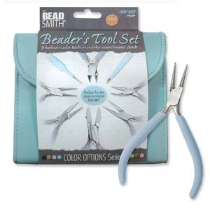 PLFAS04 Beadsmith Light Blue Beaders Tool Set in Clutch.-0