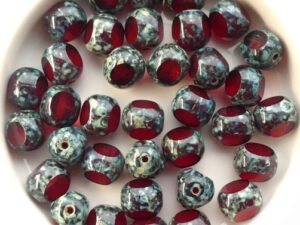 0050245 Siam Travertin, Three Cut Window Bead 8 mm. 10 Pc.-0