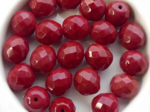 0050259 Opaque Red, Facet 10 mm. 6 Pc.-0