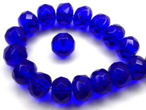 0090377 Cobalt Blue, Rondelle Facet 9 x 6 mm. 15 Pc.-0