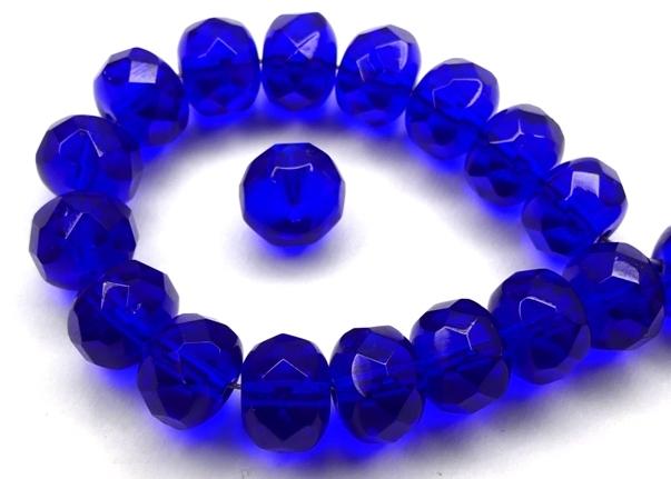0090377 Cobalt Blue, Rondelle Facet 9 x 6 mm. 15 Pc.-0