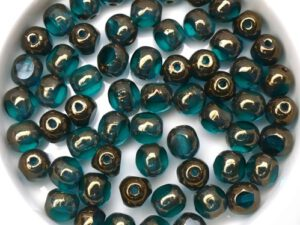 0090379 Teal Bronze, 3 Cut Window Facet 6 mm. 22 Pc.-0