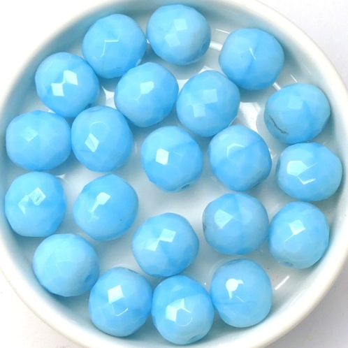 0090382 Milky Blue Turquoise Round Facet 10 mm. 8 Pc.-0
